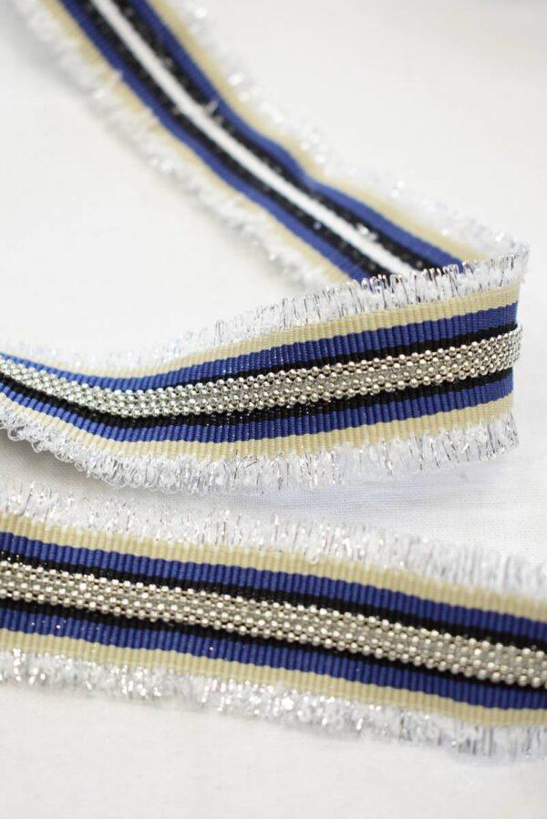 Репсовая лента в полоску с металлическими цепочками и люрексом (t0785) т-24 - Фото 8