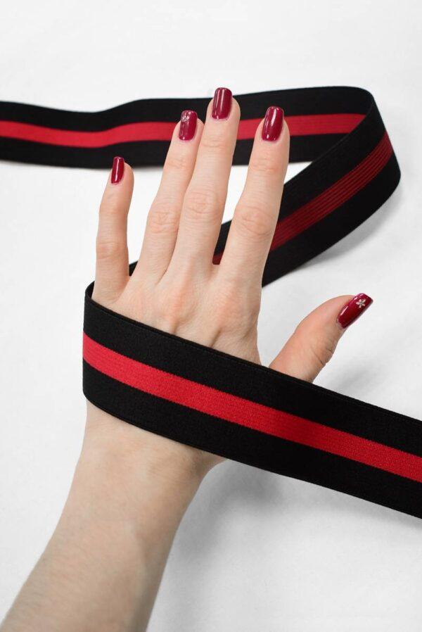Резинка черная в красную полоску (t0792) т-24 - Фото 8