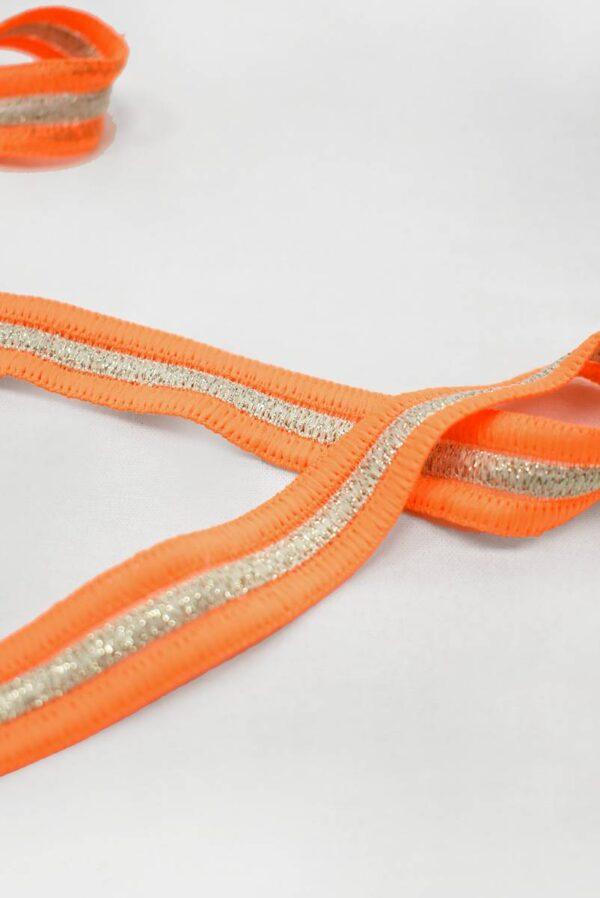 Лампасы ярко-оранжевые с люрексом (t0794) т-24 - Фото 7