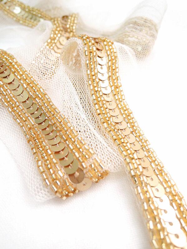 Тесьма вышивка на сетке с золотыми пайетками и бисером (t0003) т-14 - Фото 7