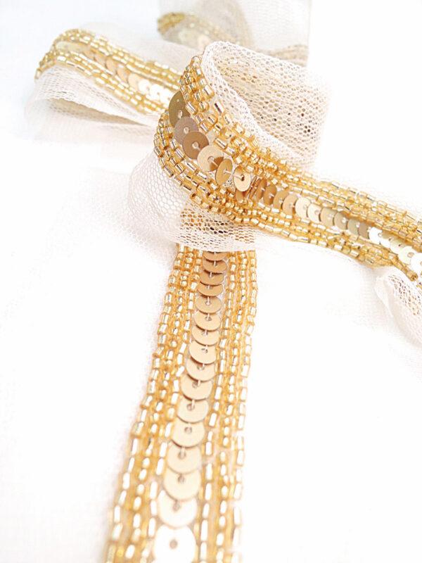 Тесьма вышивка на сетке с золотыми пайетками и бисером (t0003) т-14 - Фото 8