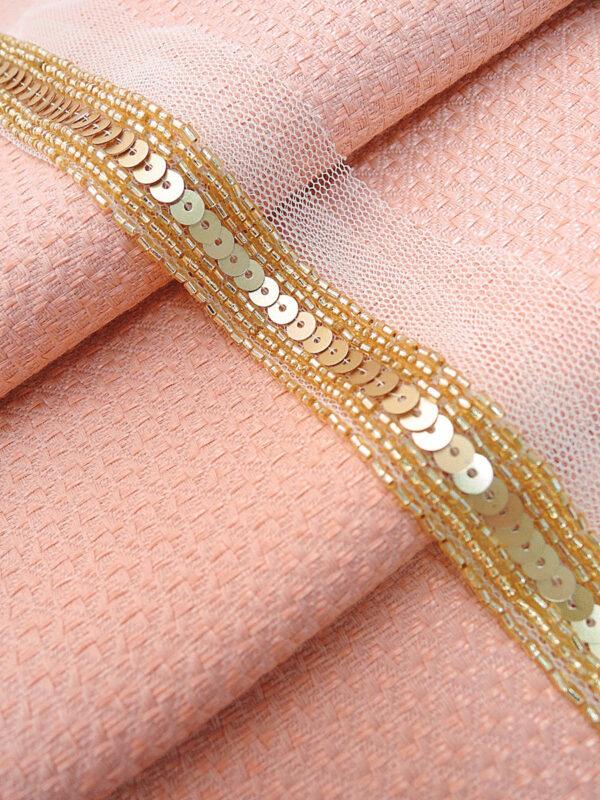 Тесьма вышивка на сетке с золотыми пайетками и бисером (t0003) т-14 - Фото 6