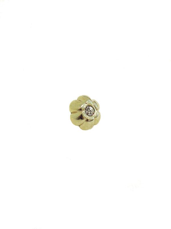 Пуговица металл золото маленький цветочек с кристаллом (р0006) к14н - Фото 6
