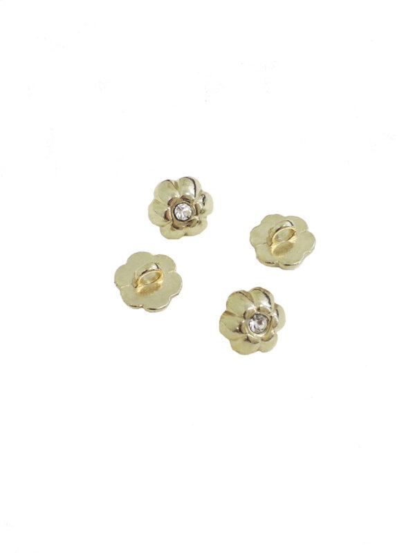 Пуговица металл золото маленький цветочек с кристаллом (р0006) к14н - Фото 8