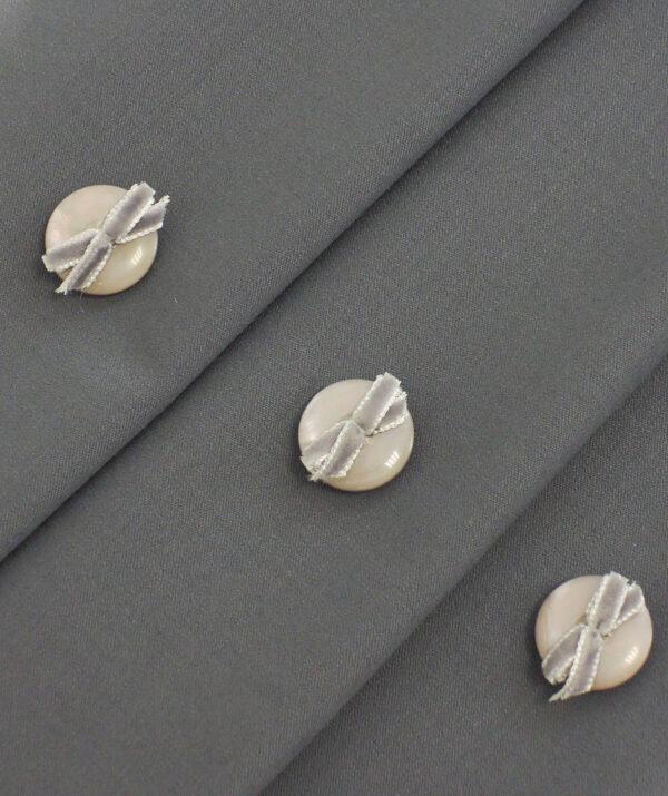 Пуговица пластиковая серый перламутр с бархатным бантиком (P0007) к-1 - Фото 9