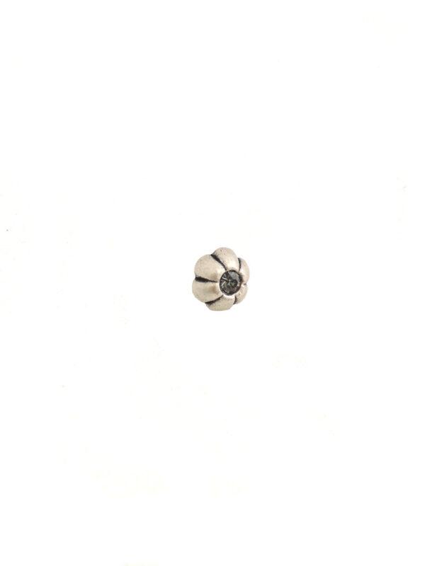 Пуговица металл серебро цветочек с кристаллом (P0012) к14н - Фото 6