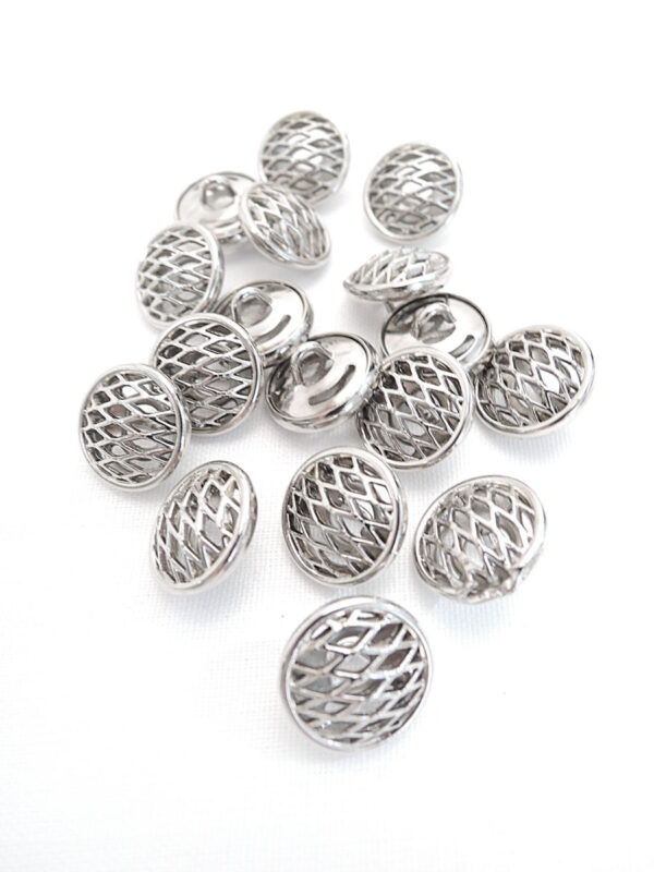 Пуговица металл серебро плетеная круглая (P0017) к14н - Фото 8