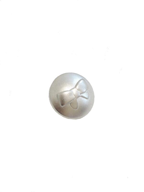 Пуговица металл серебро с выбитым бантиком (P0021) к2 - Фото 6