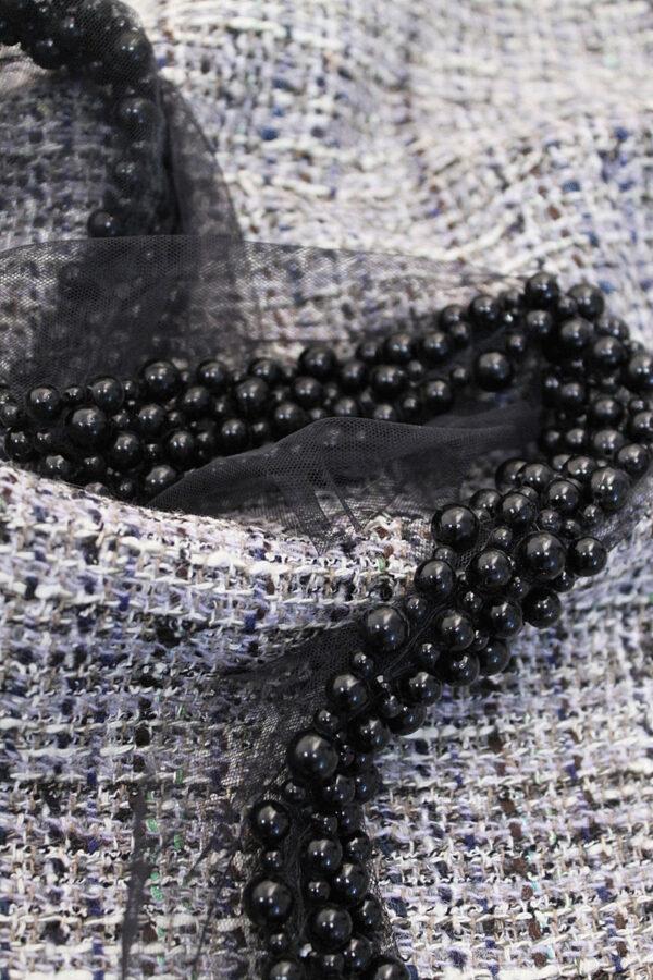 Тесьма бусины на сетке черный жемчуг (t0025) т-15 - Фото 8
