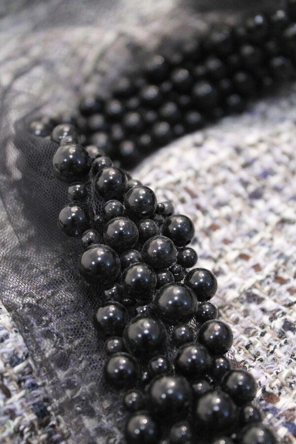 Тесьма бусины на сетке черный жемчуг (t0025) т-15 - Фото 7