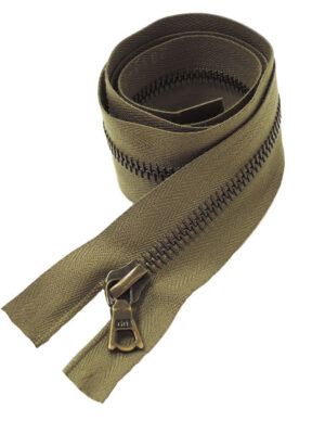 Молния 70см разъемная один бегунок металл м6 бронза на хлопковой тесьме коричнево-зеленый Riri (M0030) - Фото 13