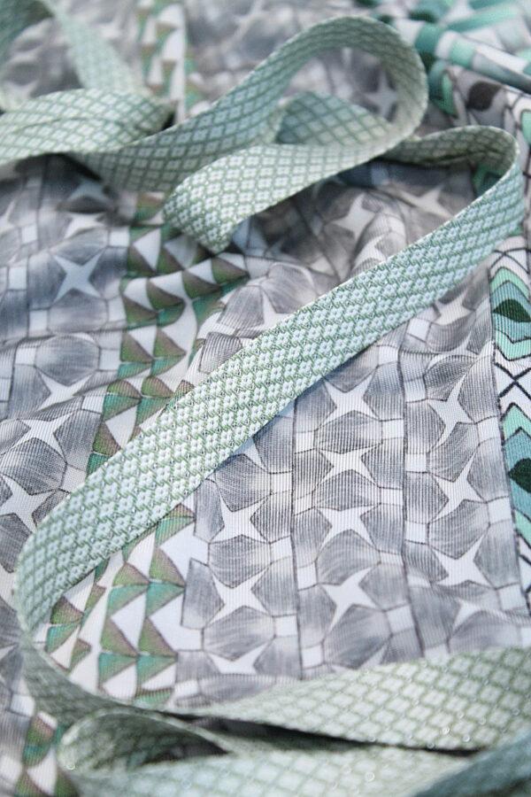Косая бейка жаккардовая светло-зеленый в крестик (t0033) т-8 - Фото 7