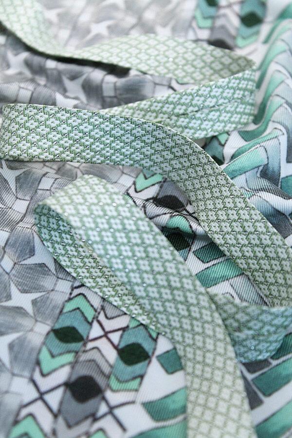 Косая бейка жаккардовая светло-зеленый в крестик (t0033) т-8 - Фото 8