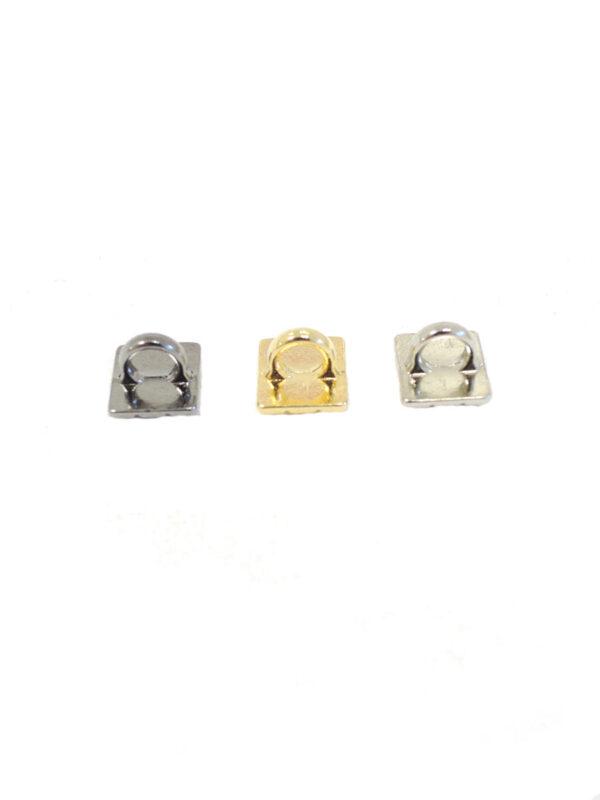 Пуговица квадратная на ножке серебро/золото/темное серебро (P0037-0038-0039) к14н - Фото 7