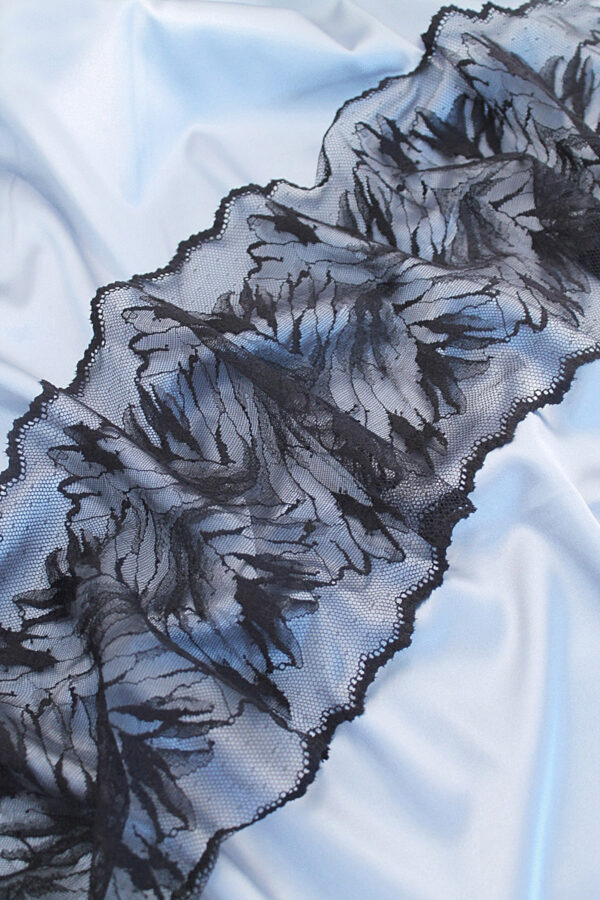 Кружево стрейч черное с флористикой (t0059) т-20 - Фото 7