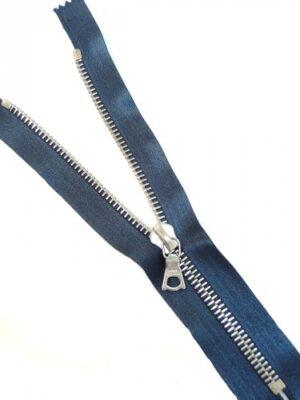 Молния 18см неразъемная один бегунок металл м6 серебро на атласной тесьме сине-серая Riri (M0061) - Фото 15