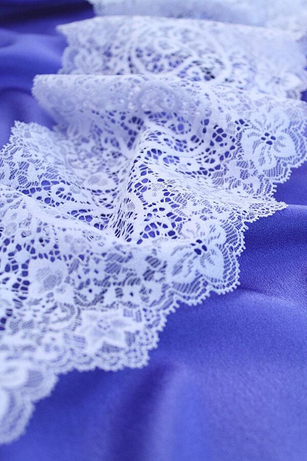 Кружево отделочное стрейч нежно-сиреневое с цветами (t0063) т-23 - Фото 6
