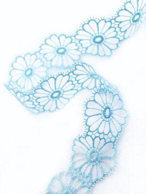 Тесьма кружевная узкая ажурная голубая цветочки (t0065) т-22 - Фото 10