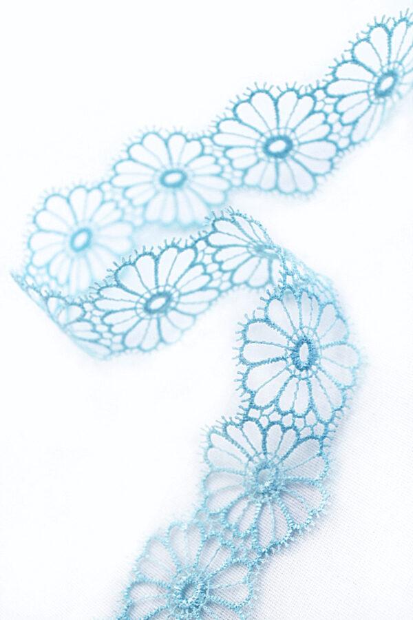 Тесьма кружевная узкая ажурная голубая цветочки (t0065) т-22 - Фото 6