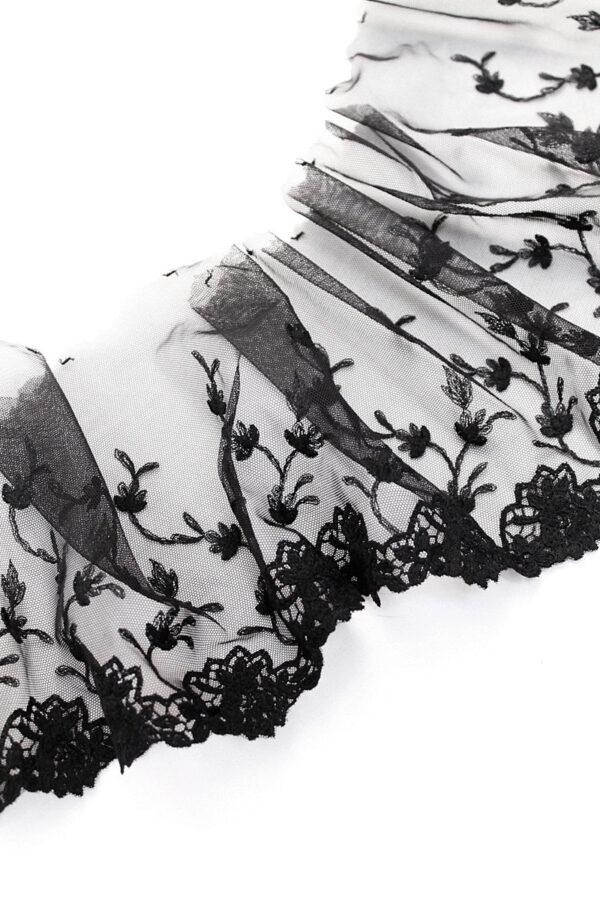 Кружево черное с цветами и одним фестоном (t0070) т-20 - Фото 6
