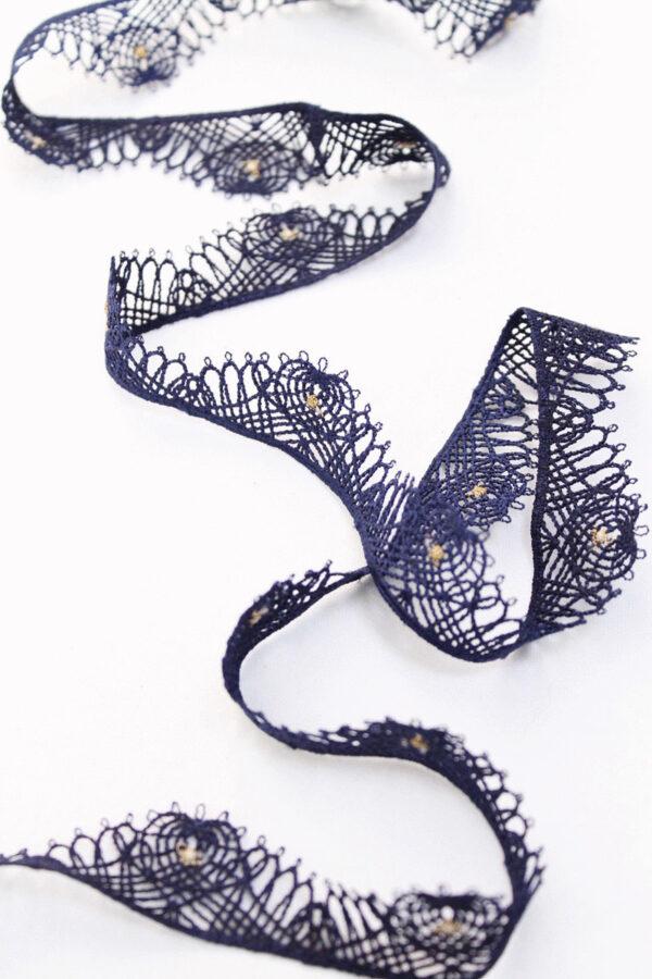 Тесьма кружевная ажурная синяя с золотым люрексом (t0073) т-22 - Фото 6