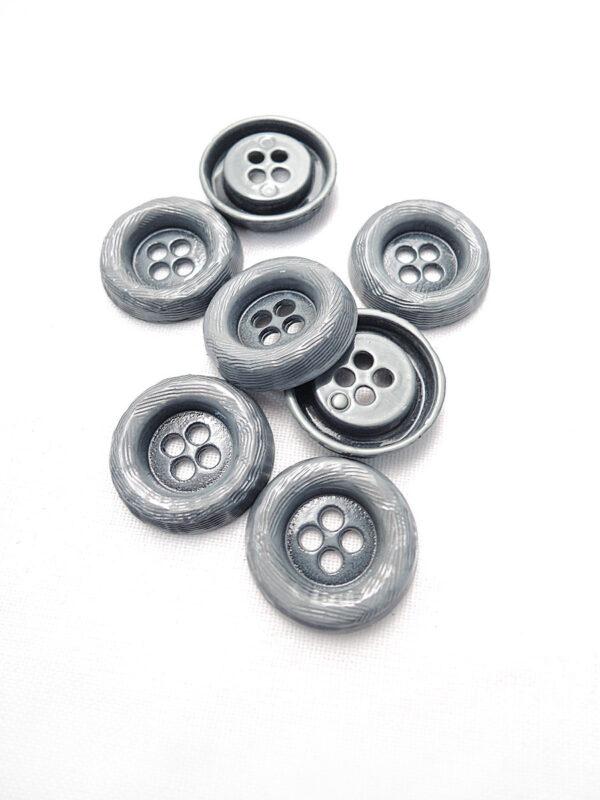 Пуговица металл серая на четыре прокола (p0084) к1 - Фото 8