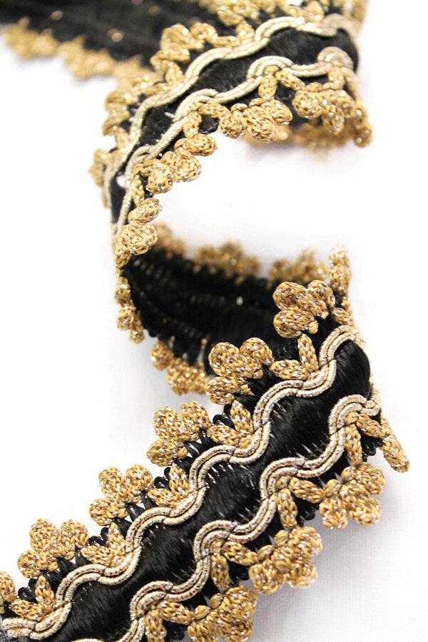 Тесьма отделочная черная с золотом (t0086) т-15 - Фото 7