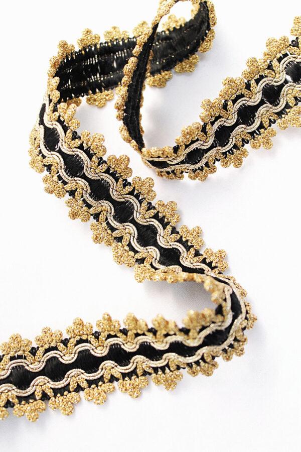 Тесьма отделочная черная с золотом (t0086) т-15 - Фото 6