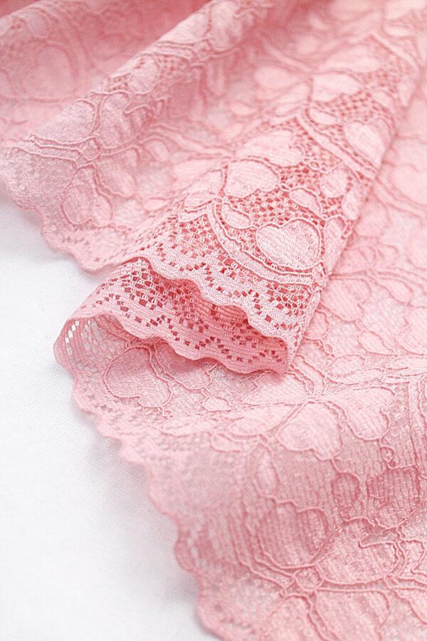Кружево стрейч отделочное нежно-розовое (t0094) т-20 - Фото 7