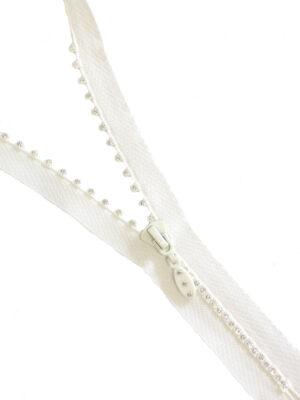 Молния декоративная 20см неразъемная один бегунок пластик м4 белый на хлопковой тесьме белая YKK (M0096) - Фото 15