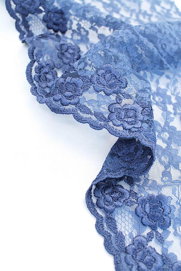 Кружево отделочное синее с цветами (t0097) т-20 - Фото 9