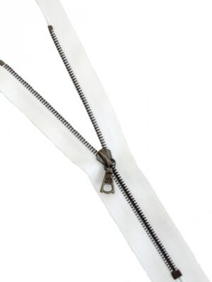 Молния 16см неразъемная один бегунок металл м4 бронза на атласной тесьме белая Riri (M0097) - Фото 15
