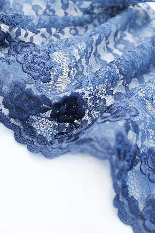 Кружево отделочное синее с цветами (t0097) т-20 - Фото 8
