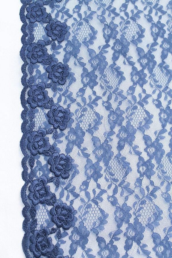 Кружево отделочное синее с цветами (t0097) т-20 - Фото 7