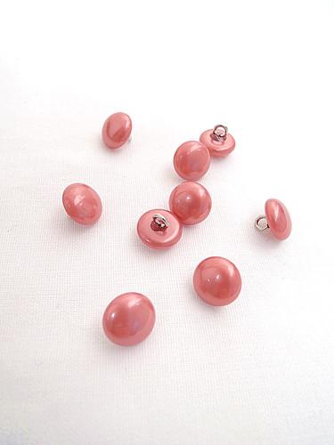 Пуговица пластиковая круглая на металлической ножке розовая (p0107) к11 - Фото 8
