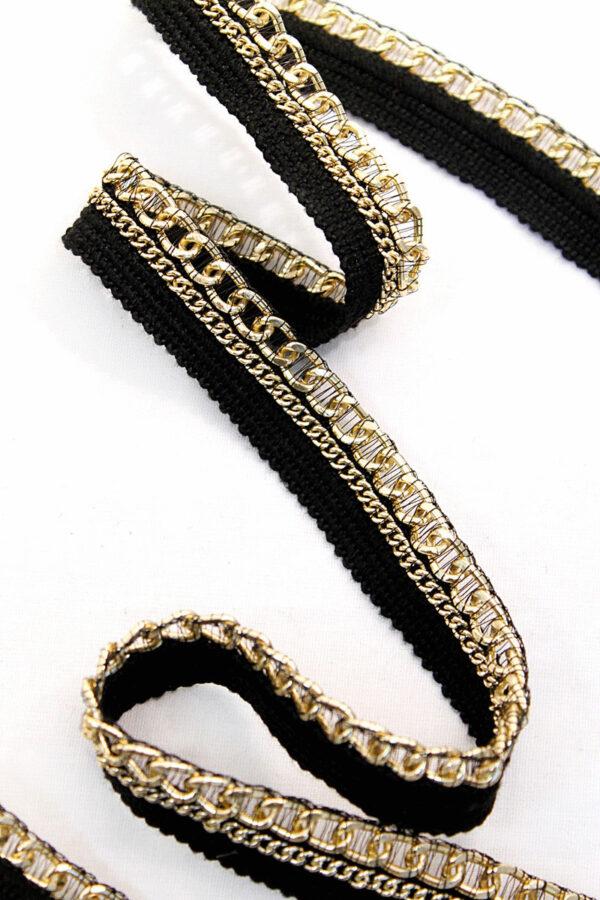 Тесьма отделочная черная с золотой цепью (t0109) т-11 - Фото 6