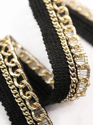 Тесьма отделочная черная с золотой цепью (t0109) т-11 - Фото 15