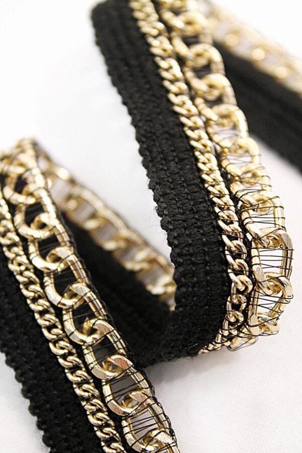 Тесьма отделочная черная с золотой цепью (t0109) т-11 - Фото 7