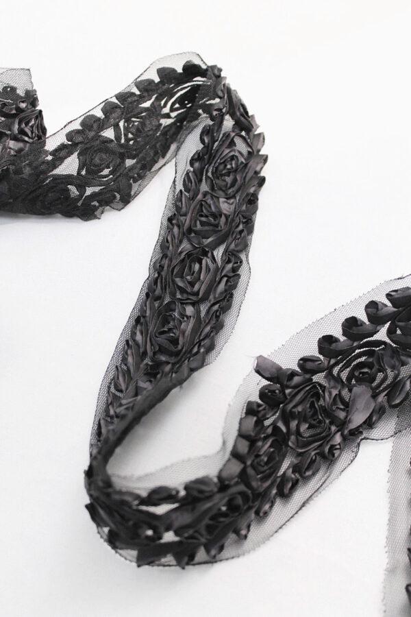 Тесьма отделочная черная с текстильными розами (t0110) т-14 - Фото 8