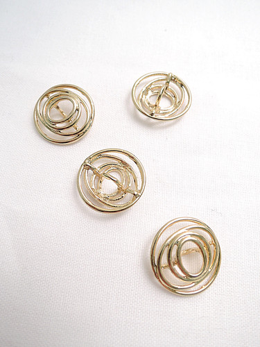 Пуговица металл спираль золотистая (p0118) к14н - Фото 8