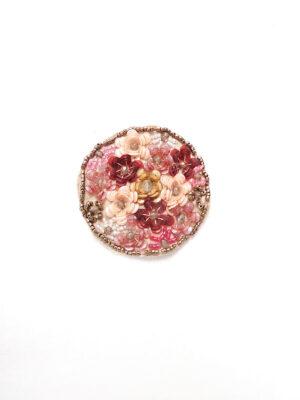 Аппликация пришивная круглая пайетки бисер цветы (t0148) - Фото 10