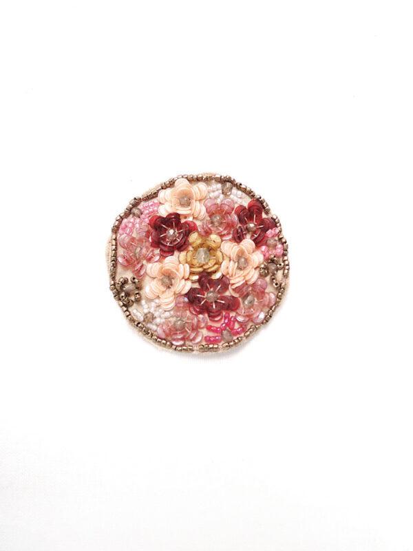 Аппликация пришивная круглая пайетки бисер цветы (t0148) д-2 - Фото 6