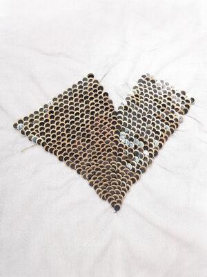 Аппликация пришивная сердце цвет черный золотой пайетки (t0157) К-броши и декоры 2 - Фото 7