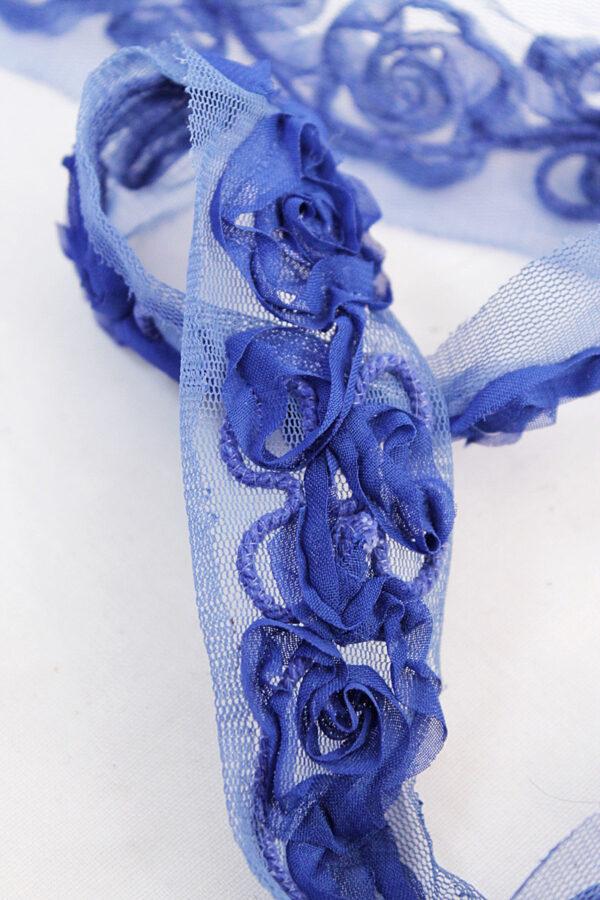 Тесьма отделочная синяя с 3Д цветами (t0168) т-7 - Фото 6