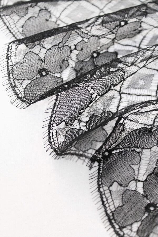 Кружево отделочное черное трёхлистный клевер ромбы (t0171)к-20 - Фото 7