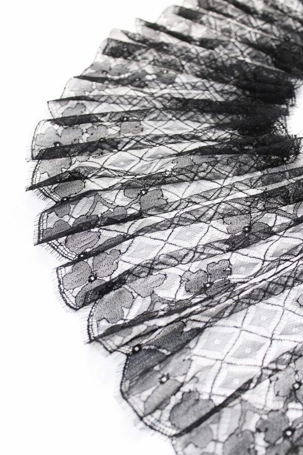 Кружево отделочное черное трёхлистный клевер ромбы (t0171)к-20 - Фото 6
