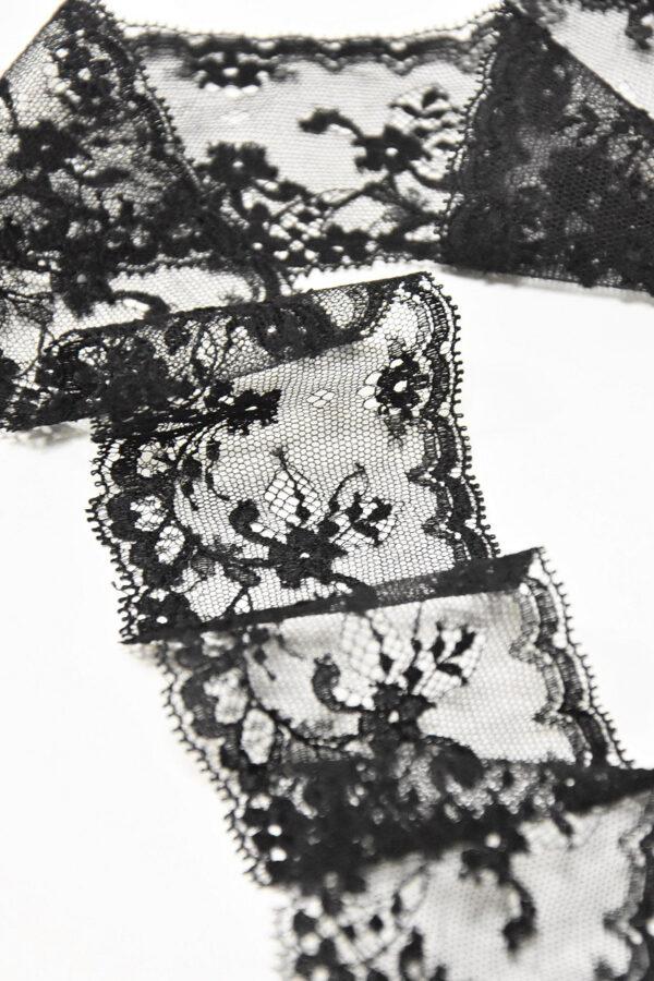 Кружево отделочное черное с цветочным орнаментом (t0172) к-2 - Фото 6