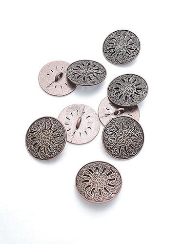 Пуговица металл старая медь с резьбой (p0184) к1 - Фото 8