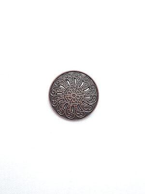 Пуговица металл старая медь с резьбой (p0184) к1 - Фото 10