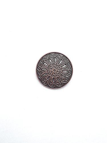 Пуговица металл старая медь с резьбой (p0184) к1 - Фото 6